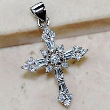 2CT White Sapphire 925 Solid Genuine Sterling Silver Cross Pendant jewelry