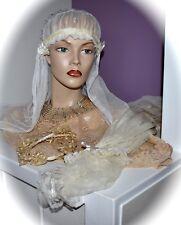 Stunning Antique 3 Piece Bridal Lot 2 Veils & 1 Wax Flower Headband 3 Piece Lot