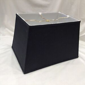 """17""""x 11"""" Rectangle Rectangular Lamp Shade Black White Faux(?) Silk  Spider Fit"""