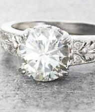 Moissanite Engagement Ring 925 Sterling Silver 2.29 Ct Vintage Near White Round