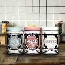 3 Barattoli Contenitori da Cucina per Caffe Zucchero Te in Latta con Coperchio