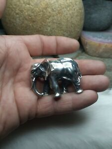 Wow! Large 58g ELEPHANT MINIATURES FIGURINE TRINKET ITALY 925 STERLING SILVER