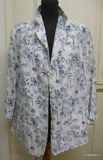BASLER veste lin brodé blanc bleu foncé 46 / France 48 / UK 20 XL