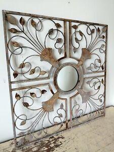 Vintage Wrought Iron Distressed Indoor Outdoor Decorative Mirror 55cm x 55cm