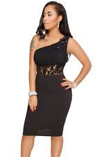 Ladies Black one shoulder Bodycon Black Sequin Mesh Diamonte  Party  Dress 12