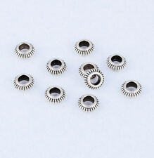 30pcs Tibetan Silver Charm Round Ring Spacer Beads Jewelry Making Finding 7x3mm