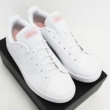 NIB ADIDAS Women's Advantage Base White Pink Leather Low Sneakers Tennis Shoes