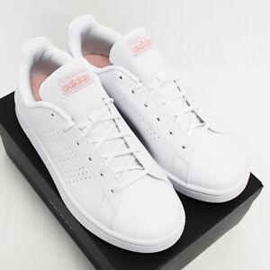 NIB ADIDAS Women's Advantage Base White Pink Leather Low Sneakers Tennis Shoes
