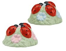 NIB Lenox Ladybug Butterfly Meadow Salt and Pepper Shakers Red Pink Blue