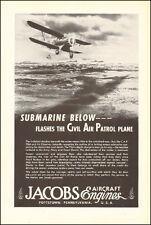 1943 WW2 AD JACOBS AIRCRAFT ENGINES , Art CAP BI-PLane bombs sub (051617)