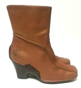 Timberland Wedge Heels Ankle Boots Bronze Leather Side Zip Womens 98357 Size 7M