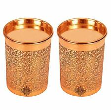 Copper Glass Tumbler with Lid Embossed Design Drinkware 300 ML Each Set of 2