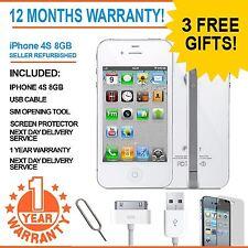 Apple iPhone 4S 8GB Blanco Desbloqueado de Fábrica Teléfono Inteligente