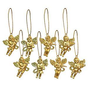Pack of 80 Small Mini 4cm Gold Cherub Christmas Tree Pendants