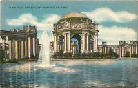 Linen Postcard CA H330 Palace of Fine Arts San Francisco Exposition Presidio