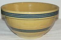 "Antique Window Pane Yellow Ware 11"" Mixing Bowl, Large Shoulder & 6 Blue Bands"