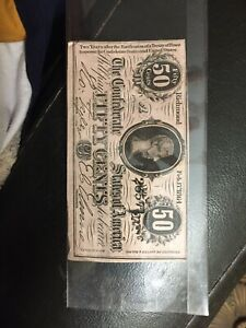 1864 Confederate States of America 50 cents bill