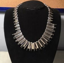 Vintage Mexican TR-57 Sterling Silver Chevron Modernist Chunky Necklace