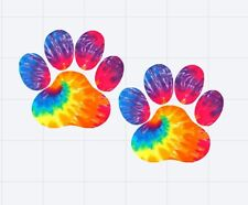 "Paw Prints in Tie Dye Decal/Sticker Great for 20oz or 30oz Insulated Cups 3"" H"
