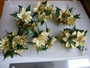 4 x 6 (24) x 70 mm Christmas Gold Glitter wired  Poinsettia  with leaves BARGAIN