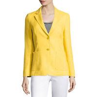 MAX MARA Women's Gallia Yellow Linen Two-Button Blazer $1,090 NWT