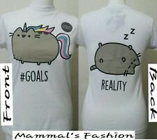 Primark Pusheen The Cat Goals Front and Back Ladies T Shirt BNWT.