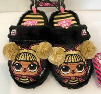 NEW LOL Surprise Girls Black Pompom Scuff Character Slippers House Shoes L.O.L