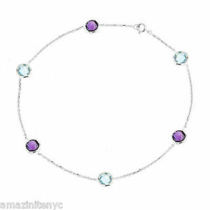 14K White Gold Anklet Bracelet With Blue Topaz And Amethyst 11 Inches