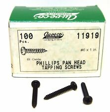 "Aucevo 11919 #6x1"" Phillips Pan Head Tapping Screws, Black Oxide. Box of 100"