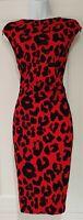 Womens Roman Red Black Velvet Animal Leopard Print Stretch Formal Pencil Dress14