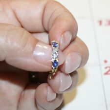 Created Tanzanite Tiny Diamond 1ctw Hoop Earrings 14k Yellow Gold Over 925 SS
