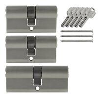 3x Tür Zylinder Schloss 60 / 70 mm gleichschliessend +5 Schlüssel Schliessanlage
