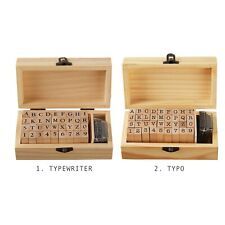 Wooden Uppercase Alphabet & Number Stamp Kit With Mini Black Ink - Stamping