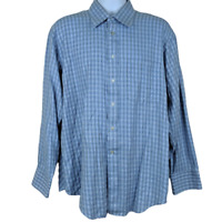 Ted Baker London Size 17-34/35 Men's Dress Shirt L/S Spread Collar Blue Checks