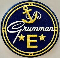"""WWII Navy """"E"""" Award Embroidered Patch, Grumman WWII Home Front Aviation PAT-0143"""