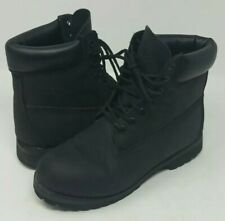 TIMBERLAND 6 INCH PREMIUM ALL BLACK LEATHER MENS SIZE 7 CONSTRUCTION BOOTS 10661