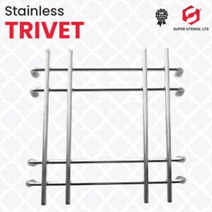 TRIVET Stainless Steel Chrome Cooking Rack Square With Stand Pot Pan Stand Hot