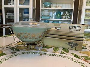 Vintage Pyrex Medallion Casserole Bowl With Cradle Warmer & Box