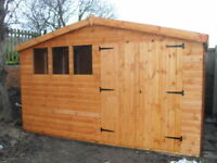 "**Garden Shed 12x10 Apex d/d 13mm t+g  3""X2""frame 1""thick floor free erect**"