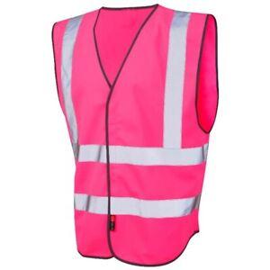 Pink Unisex Hi Viz High Vis Safety Vest Leo Workwear Pilton Vest