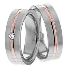 0.05Ctw Diamond Wedding Ring Set 10K White & Rose Gold Matching Wedding Band Set