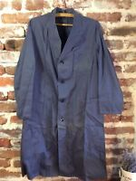 Vtg Work Chore Long Jacket Duster Shop Coat French Workers Workwear Hobo L XL