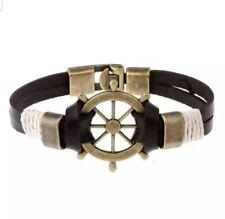 Men's Bracelet Cuff Braided Charm Pirate Genuine Leather Anchor Bangles Jewelry.