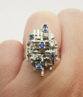 Sapphire and Diamond Ring Handmade 18ct White Gold Dress Ring Preloved VAL $2500