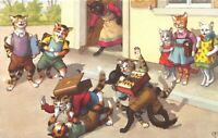 POSTCARD CATS - ANTHROPOMORPHIC -  SCHOOL - THE PUNCH UP