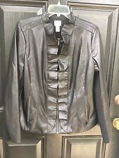 New $199 Chico's Black Faux Leather Ruffle Jacket 2 Petite P = Large L 12 14 NWT