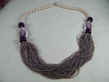 """VINTAGE MONET SIGNED 32"""" FAUX PEARL, CHUNKY PURPLE, SEED BEAD NECKLACE"""