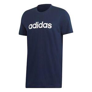 Mens Adidas Classic Linear Logo Short Sleeve Crew Neck Tee T-Shirt Navy Blue