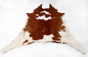 "Rare Cowhide Rugs Calf Hide Cow Skin Rug (32""x36"") Soft Brown and White CH8314"