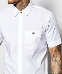 Mens Vivienne Westwood shirt, Short sleeve, Orb logo, slim fit, white